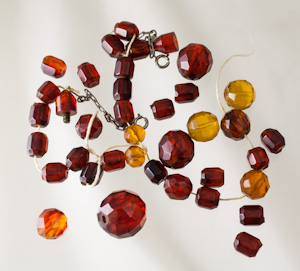 vintage faceted amber beads